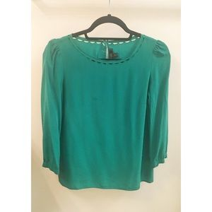 J Crew Kelly Green Silk Top
